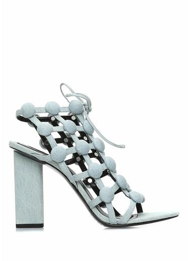 Alexander Wang Kalın Topuklu %100 Deri Sandalet Mavi